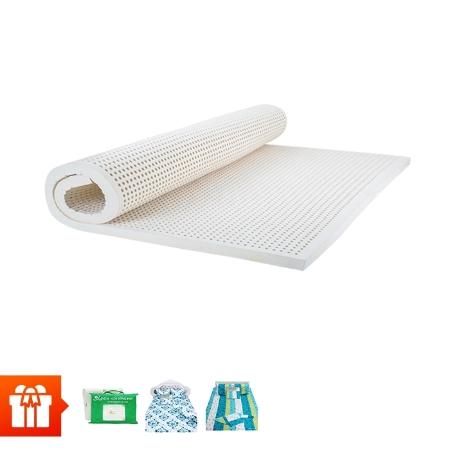 Đồng Phú_Nệm cao su thiên nhiên DELUXE 7.5cm x 1m6+ 2 gối cao su thiên nhiên gợn sóng (40x60cm) + 1 bộ drap cotton không mền+ 1 tấm bảo vệ nệm