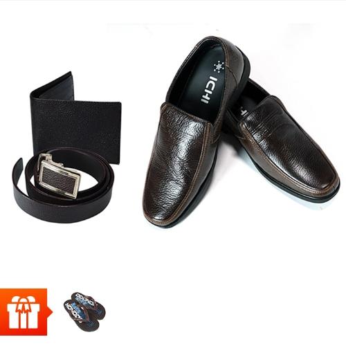 ICHI-Combo đồ da cao cấp cho nam giới (1 đôi giày Tây thời trang da thật + 1 bộ ví và thắt lưng da thật + 2 đôi dép xốp xỏ ngón)