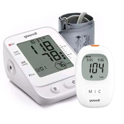 [Normal + Member] YUWELL - Máy đo huyết áp bắp tay điện tử YE660E + Máy đo đường huyết 710 ( bao gồm 10 que + 10 kim)