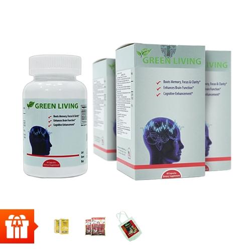 Combo 4 hộp TPBVSK Green Living - hỗ trợ tăng cường tuần hoàn não (60 viên/ hộp) + 2 hộp dầu cá Omega 3 6 9(30 viên/ hộp) )+ 2 gói kẹo hồng sâm Hàn Quốc (200gr/gói)+ 1 túi canvas
