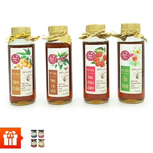 Bonie bee-Combo 4 chai mật ong  (380gram/chai) + 4 hủ trà hoa thiên nhiên Just Viet (15gram/hũ)