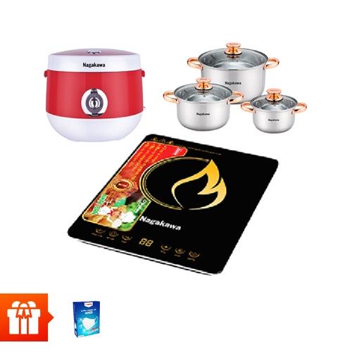 [30/4&1/5]-NAGAKAWA - Bếp điện từ đơn NAG0704 + Nồi cơm điện NAG0101(đỏ)+Bộ 3 nồi Inox 4 đáy  NAG1306+10 khẩu trang vải kháng khuẩn 2 lớp