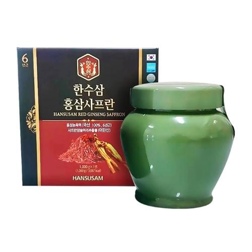 [58P]HANSUSAM- TPBS 1 hộp chiết xuất hồng sâm saffron 1000g+2 hũ trà mật ong chanh 1000g+ 30 chai nước uống đông trùng hạ thảo 100ml