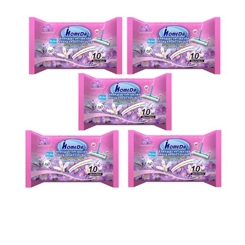 [EC]-COMBO 5 Khăn giấy ướt lau sàn kháng khuẩn tiện dụng hương hoa ( 10 tờ)