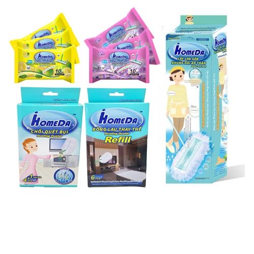 [EC]-COMBO- 3 Khăn giấy ướt lau sàn kháng khuẩn tiện dụng hương hoa ( 10 tờ)+3 Khăn giấy ướt lau sàn kháng khuẩn tiện dụng hương cam chanh ( 10 tờ)+ Cây lau sàn nhung dài an toàn iHomeDa (1 bộ cán +2 bông lau)+ Chổi quét bụi IHomeDa (1 cán + 4 bông lau) và 1 bông lau thay thế (6 bông lau)