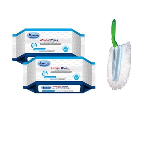 [EC]-COMBO  2 Khăn ướt lau đồ dùng có cồn kháng khuẩn 80pcs+ Chổi quét bụi iHomeDa ( 1 cán + 4 bông lau)
