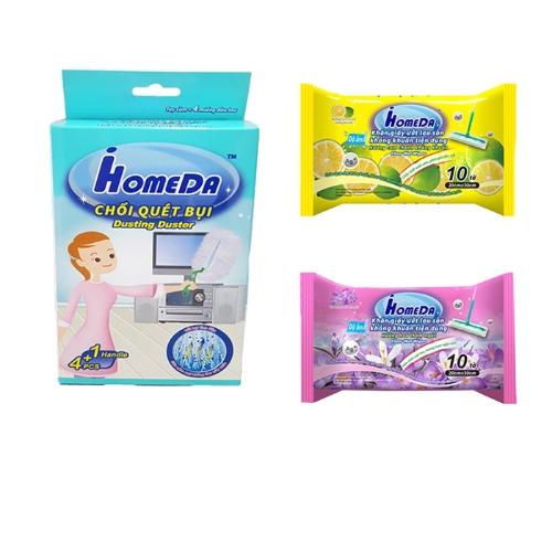 Combo IHOMEDA Tiện Dụng  - 3  Khăn giấy ướt lau sàn kháng khuẩn hương hoa & cam chanh ( 10 tờ) + Chổi quét bụi