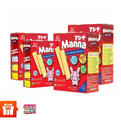 [EC]-Combo 4 Hộp Bánh xốp sữa Manna 35g tặng lốc 6 hộp sữa chua uống Susu