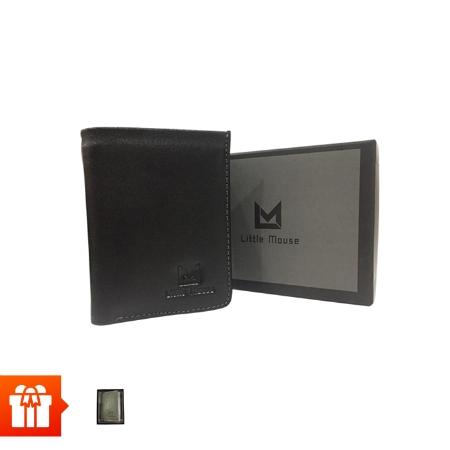 [EC]- LITTLE MOUSE -Ví ngang DA BÒ CAO CẤP - 2 ngăn - màu đen + ví namecard (màu ngẫu nhiên)