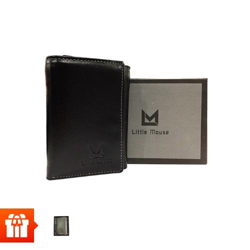 [EC]- LITTLE MOUSE -Ví đứng DA BÒ ĐẲNG CẤP - 3 ngăn - màu đen +  ví namecard (màu ngẫu nhiên)