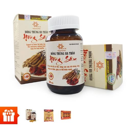 [PGM]NATURAL Q PLUS - Combo 3 hộp TPBVSK Đông trùng hạ thảo hồng sâm (30 viên/ hộp) +1 hộp cùng loại + 1 hộp yến sào đường phèn CUNG ĐÌNH ( tổ yến 15%)+ 1 gói kẹo hồng sâm Hàn Quốc 200g