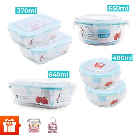 KLOCK _Combo bộ bảo quản thực phẩm KLOCK cao cấp 6 hộp (ICHD2101) +1 hủ vuông có khóa 600ml+1 túi giữ nhiệt