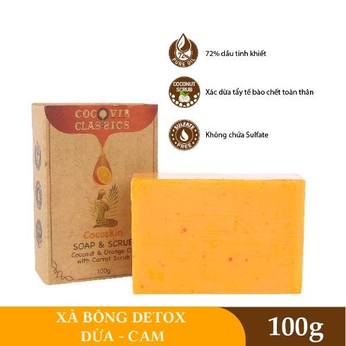 [EC]-COCOVIE-Combo khay gáo dừa - xà phòng dừa cam 100g