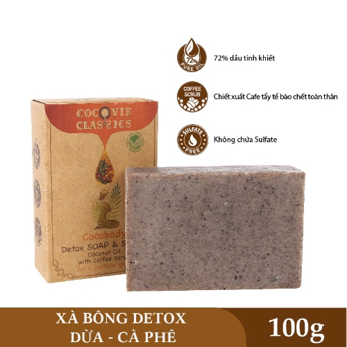 [EC]-COCOVIE-Combo khay gáo dừa - xà phòng dừa  cà phê 100g