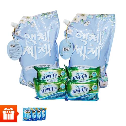 Combo 2 túi nước giặt Hương thảo mộc Blue 2kg/túi + 4 xà bông tẩy vết bẩn SANDOKKAEBI  230g/gói + 4 gói bột thông cống 100g/gói