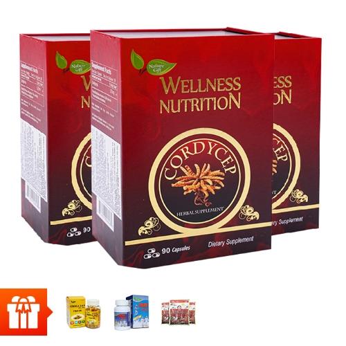 [Family] Combo 3 hộp viên uống đông trùng hạ thảo Wellness Nutrition (90 viên/ hộp)+2 hộp  dầu cá Omega 3 6 9 (30 viên/ hộp)+ 1 hộp Shark Cartilage sụn cá mập (30 viên/ hộp)+ 3 gói kẹo hồng sâm Hàn Quốc 200g