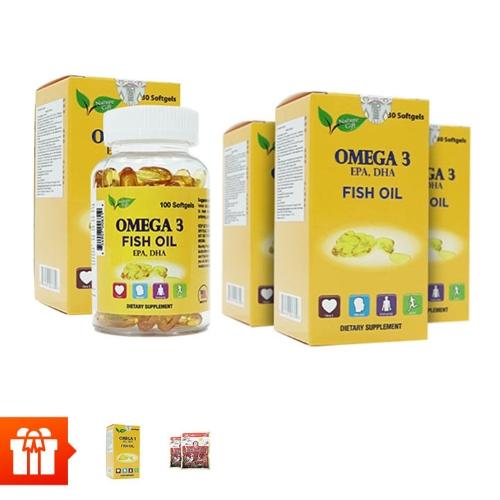 NATURE GIFT-Combo 5 hộp Omega 3 Fish Oil (100 viên/ hộp )+1 hộp cùng loại + 2 gói kẹo hồng sâm 200gr