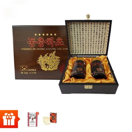 [60P]SANTE365 - 1 hộp Đông trùng hạ thảo (Hộp gỗ, gồm 2 lọ, 90viên/lọ )+10 gói chiết xuất nhung hươu hồng sâm núi+2 hộp TPBVSK Hồng sâm thái lát tẩm mật ong (20g/hộp nhỏ)