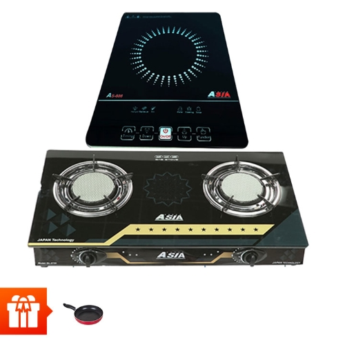 [60p] Combo Nhà Bếp ASIA- Bếp từ đơn  SA-686+ Bếp gas đôi  BL8700  + Chảo chống dính 22cm