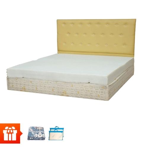 EDEVI - Nệm cao su non dày 10cm - 1m8 + 2 gối cao su non + 2 bộ drap 1m8 (màu sắc ngẫu nhiên)