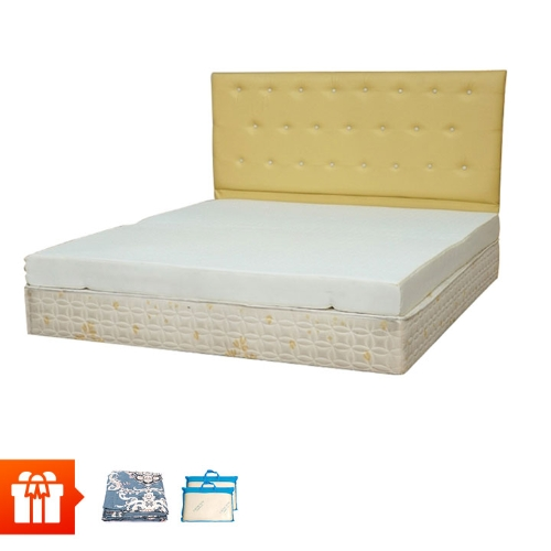EDEVI - Nệm cao su non dày 15cm - 1m6 + 2 gối cao su non + 2 bộ drap 1m6 (màu sắc ngẫu nhiên)