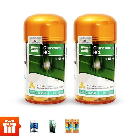 [60P]_COSTAR - 2 hộp thuốc bổ xương khớp Glucosamine(120v/hộp) + 1 hộp sụn cá mập shark (120v/hộp) + 1 tuýp kem lạnh xoa bóp Catus Glucosamine Cream 150ml  +2 Hộp Dầu cá Omega 3 (100v/hộp)