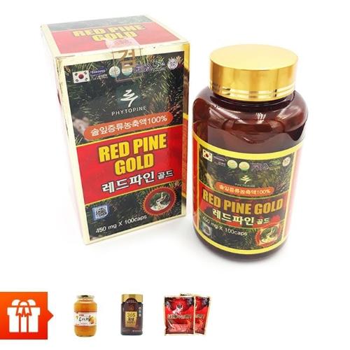 [OB] RED PINE GOLD-Tinh dầu thông đỏ+1 lọ chiết xuất hồng sâm Hàn Quốc & đông trùng hạ thảo (240g) + 1 hũ trà mật ong chanh 1000g + 2 gói  kẹo sâm ( 200g/gói)