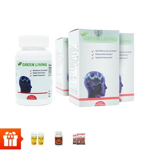 Combo 4 hộp TPBVSK Green Living - hỗ trợ tăng cường tuần hoàn não (60 viên/ hộp) + 2 hộp dầu cá Omega369 (30v) +1 hộp viên đông trùng Wellness Nutrition (30v) + 2 gói kẹo hồng sâm