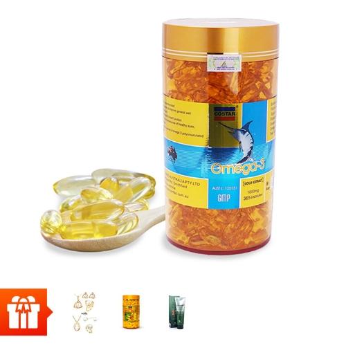 [60P]_COSTAR – Dầu cá Omega 3 (365v/hộp) + 1 hộp sữa  ong chúa COSTAR (100v/hộp) + bộ trang sức nữ ngọc trai nhân tạo (mẫu ngẫu nhiên) + 1 tuýp kem lạnh xoa bóp Catus Glucosamine Cream 150ml