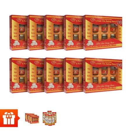 YẾN SÀO CUNG ĐÌNH-Bộ 10 hộp nước yến đường phèn( tổ yến 15%)+ 3 hộp cùng loại+ 6 lon yến Wonderfarm