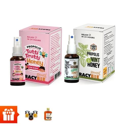 TracyBee-Combo 2 chai keo ong xịt 30ml (bạc hà, trái cây) + 3 lọ mật ong 50ml + 1 chai mật ong hoa cà phê 95gr