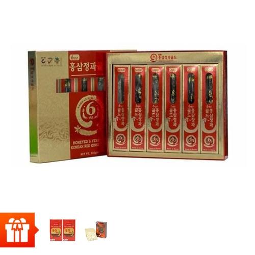 [9.9] SANTE365 - Sâm củ HQ 6 năm tuổi tẩm mật ong 300g (50g/ củ x 6 củ/ hộp) +2 hộp kẹo mềm vị hồng  sâm (200g/hộp giấy)+2 hộp TPBVSK Hồng sâm thái lát tẩm mật ong (20g/hộp nhỏ)