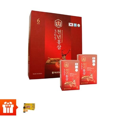 [CRAZY T10]Combo 60 gói nước chiết hồng sâm nhung hươu 365 HANSUSAM ( 70ml x 60 gói) + 10 chai uống Vitamin C Hàn Quốc