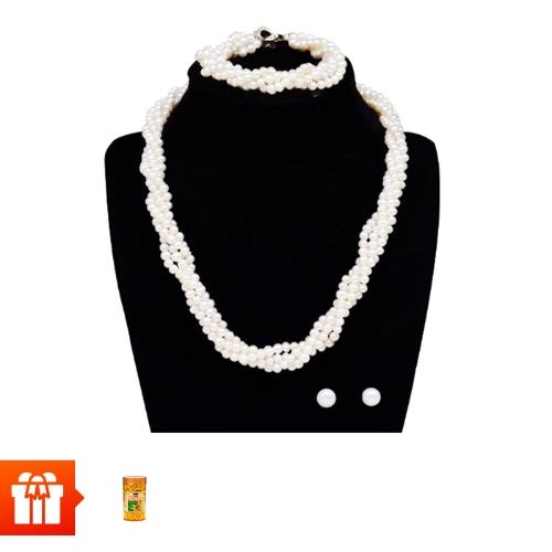 Chuỗi ngọc trai xoắn Forever Young( Combo 1 bộ trang sức ngọc trai xoắn 4 dây )+ Sữa ong chúa Royal Jelly 1450mg (Costar, 100 viên)