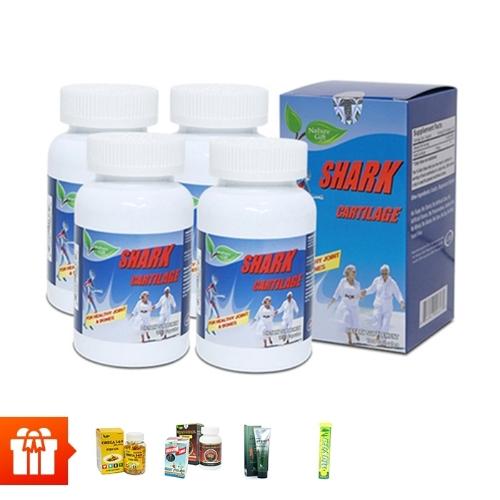 [60P]- Combo 4 hộp TPBVSK sụn cá mập Shark Cartilage (100 viên/ hộp) + 1 hộp  Canxi Green Living(60 viên)+1 hộp Omega 369 30v+1 hộp Wellness Nutrition (30 viên)+ 1 tuýp kem lạnh Glucosamin+1 hộp sủi vitamin C