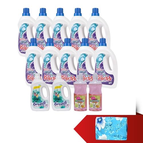 KOLORTEX -  Bộ 10 chai nước giặt trắng sáng + 2 chai nước xả + 2 chai nước rửa chén + bộ drap