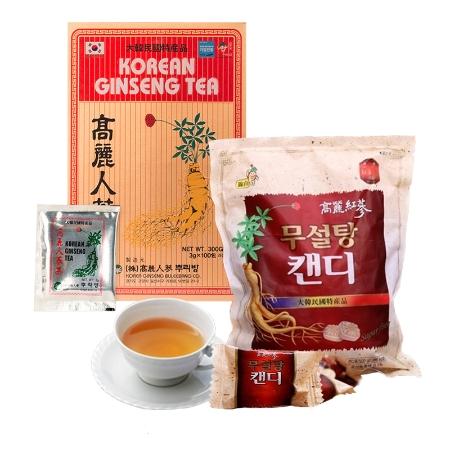 Combo Trà Sâm Buleebang (3g x 100 gói)+1 Kẹo Hồng Sâm Không Đường Koryo (500g)