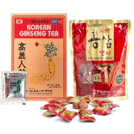 Combo Trà Sâm Buleebang (3g x 100 gói)+1 Kẹo Hồng Sâm Sobaek (200g)