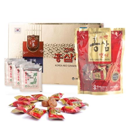 Combo Trà Hồng Sâm Buleebang (3g x 100 gói) +1 Kẹo Hắc Sâm Vitamin Dream (300g)