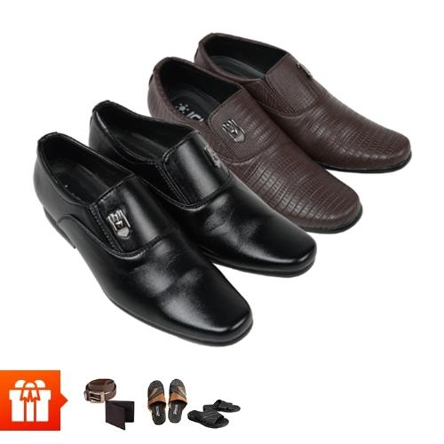 [LK/2020]ICHI - Combo 2 đôi giày Tây nam + 2 đôi dép da+ bộ 1 ví 1 thắt lưng da tổng hợp