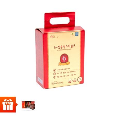 SANTE 365 - Thực phẩm bảo vệ sức khỏe K-JIN RED GINSENG STICK GOLD, 10g/gói x100 gói/ hộp Tặng 20 chai nước hồng sâm