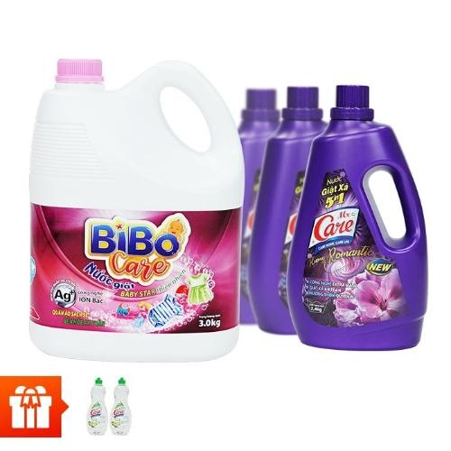 [New] MR. CARE - Bộ 3 can nước giặt xả 5in1 hương Romantic 2.4kg + 1 can nước giặt Bibo Care 3kg + 2 chai nước rửa chén True Care thiên nhiên 750g