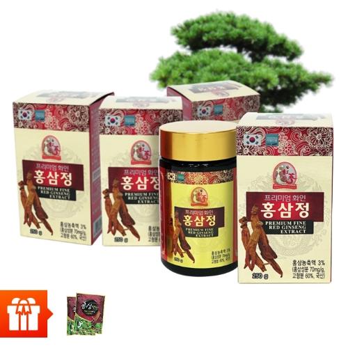 Combo 4 hộp Thực phẩm bảo vệ sức khỏe PREMIUM FINE RED GINSENG EXTRACT (250g/ hộp) + 2 gói kẹo hồng sâm (200g/ gói)