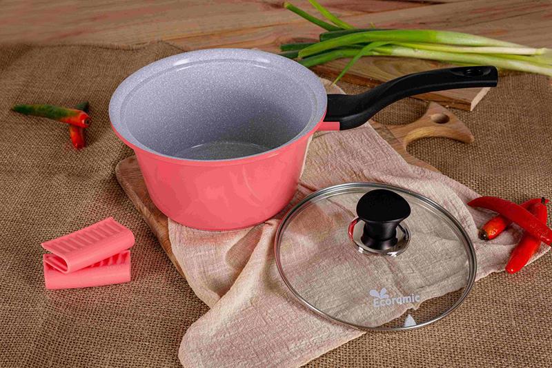 ECORAMIC - Bộ 4 nồi đúc đế từ ceramic cao cấp: nồi 1 tay cầm 18cm, nồi 2 tay cầm 20-22-24cm tặng 1 cặp nhấc nồi sillicon