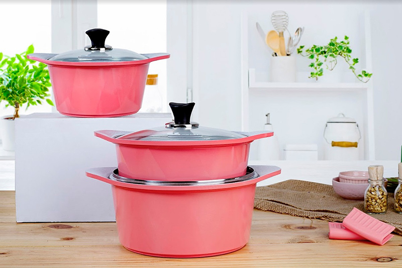 Bộ nồi ECORAMIC 3 món đáy từ: nồi đúc ceramic cao cấp 20-22-24cm màu hồng tặng 1 cặp nhấc nồi sillicon